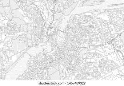 Ottawa, Ontario, Canada, bright outlined vector map with bigger and minor roads and steets created for infographic backgrounds.