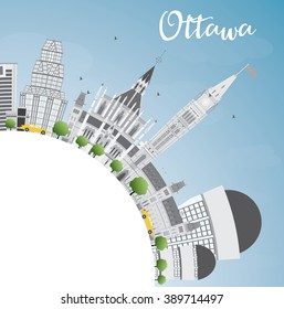 Ottawa Skyline with Gray Buildings and Copy Space. Vector Illustration. Business travel and tourism concept with modern buildings. Image for presentation, banner, placard and web site.