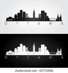 Ottawa skyline and landmarks silhouette, black and white design, vector illustration.