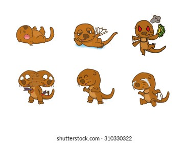 Otter 6 emotion and action cartoon