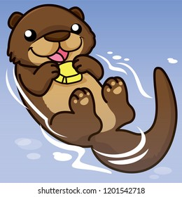 otter cartoon, cartoon cute, animal cute