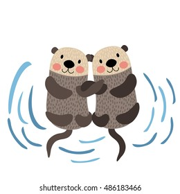 Otter couple holding hands animal cartoon character isolated on white background.