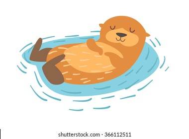 Otter. Flat cartoon vector illustration, isolate on white  background