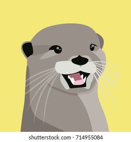 otter flat illustration character