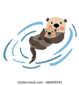 Otter mother and child animal cartoon character isolated on white background.
