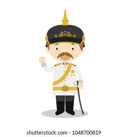 Otto von Bismarck cartoon character. Vector Illustration. Kids History Collection.