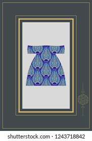 Ottoman caftan model. Turkish ceramic art created with cintemani pattern. EPS format vector drawing. Can be used as wall panel, ornament, gift card, fabric and textile pattern.