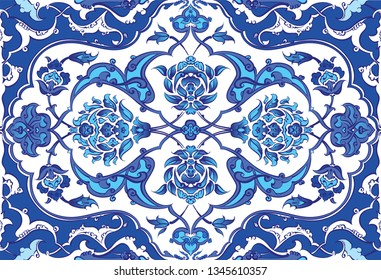 Ottoman Empire, Blue ceramic seamless tiles.  islam, muslim world use these tiles at mosque