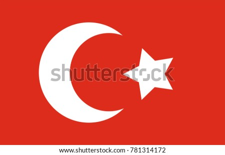 Ottoman Empire Flag. 1299-1922 AD Founder OSMAN BEY. EPS 10 format vector drawing.