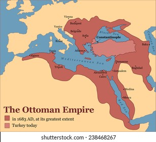 The Ottoman Empire at its greatest extent in 1683, and Turkey today. Vector illustration.