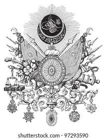 Ottoman Empire (Turkey) coat of arms / vintage illustration from Meyers Konversations-Lexikon 1897