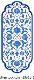 Ottoman Islamic ceramic floral vector border frame tile