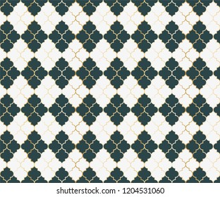 Ottoman Mosque Vector Seamless Pattern. Argyle rhombus muslim textile background. Traditional mosque pattern with gold grid. Trendy islamic argyle seamless design of lantern lattice shape tiles.