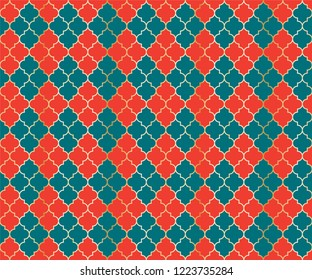 Ottoman Mosque Vector Seamless Pattern. Argyle rhombus muslim fabric background. Traditional mosque pattern with gold grid. Stylish islamic argyle seamless design of lantern lattice shape tiles.