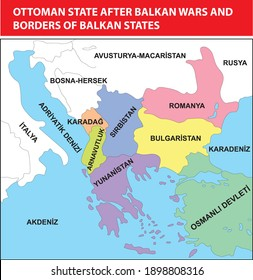 Ottoman state after Balkan wars and borders of Balkan states turkish history map