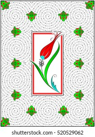 Ottoman Tile Motif. Red and Green Tile Design. Spiral Estuary Motif.