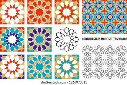 Ottoman Tile and Tezhip motifs set. Sacred geometry, star mandala, vector illustration. 12 sided geometric. Can be used as wall decoration, banner, motif, gift card, icon.