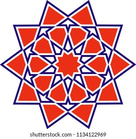 Ottoman Tile & Tezhip motifs are very similar to each other. Sacred geometry, star mandala, vector illustration. Ten sided geometric.  It can be used as wall decoration, banner, motif, gift card, icon