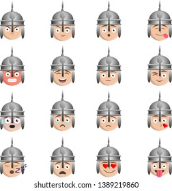 Ottoman / turkish / islamic soldier icon, smiley with helmet, Emoji set of various emotions.