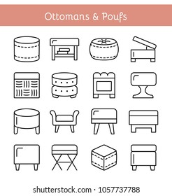 Ottomans and Poufs. Accent stools. Different kinds of classic & modern upholstered seats. Living room, bedroom & patio furniture. Front view. Vector icon collection.
