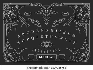 ouija board decorate with human skull, eye, hand, and alphabet. in white line work.