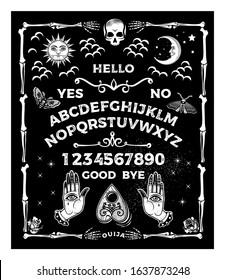 Ouija Board. Occultism Set. Vector Illustration.