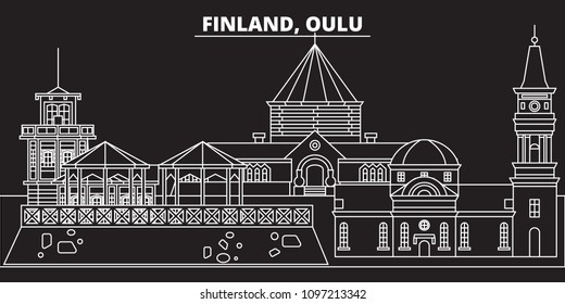 Oulu silhouette skyline. Finland - Oulu vector city, finnish linear architecture, buildings. Oulu travel illustration, outline landmarks. Finland flat icons, finnish line banner
