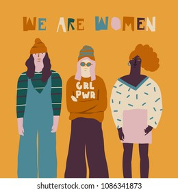 oung women friends illustration. Girl power concept.