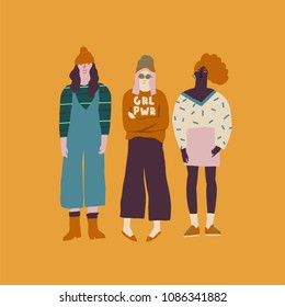 oung women friends illustration. Girl power concept.