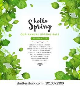 Our Annual Spring Sale/ Illustration of a spring season background, with green leaves, from various plants and trees species and annual sale