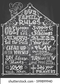 Our family rules. Chalkboard wall sign. Hand-lettering with sketches on blackboard background with chalk. Decorative typography