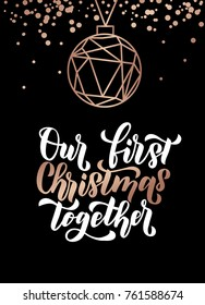 Our first christmas together. Merry Christmas and Happy New Year rose gold greeting card. Minimalistic christmas card on navy blue background. Linear Christmas decorations with confetti.