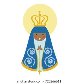 Our Lady of Aparecida is Nossa Senhora Aparecida patroness of Brazil. Blessed Virgin Mary flat cute vector.