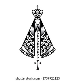 Our lady appeared Black and White Classic vector for poster design or trendy t-shirt design