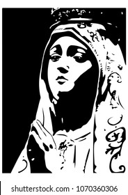 Our lady of Fatima statue vector