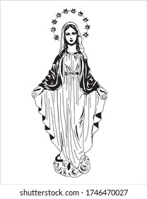 Our Lady of grace vector Virgin Mary catholic Illustration