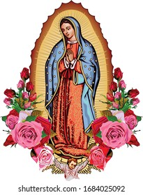 Our Lady Guadalupe with poster roses
