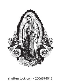 Our Lady of Guadalupe vector Virgin Mary catholic religious Illustration