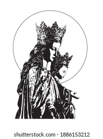 Our Lady Help of Christians Illustration Virgin Mary and Child Jesus catholic vector