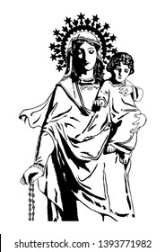 Our Lady of the Holy Rosary with Child Jesus Vector Catholic Illustration