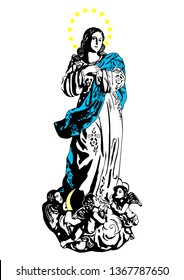 Our Lady Immaculate conception Virgin Mary Madonna Illustration Vector