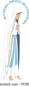Our lady of loudres vector virgin Mary illustration