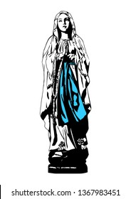 Our Lady of Lourdes Catholic Madonna Notre Dame de Lourdes vector Illustration