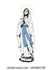 our lady of Lourdes Illustration Virgin Mary catholic religious vector