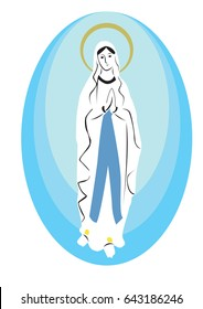 Our Lady of lourdes vector, Blessed virgin Mary
