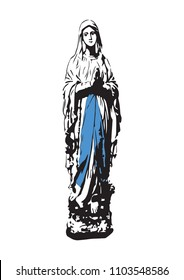 Our lady of Lourdes vector catholic virgin Mary