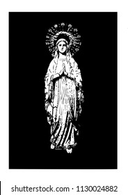 our lady of Lourdes vector catholic