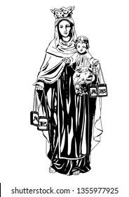 Our lady of mount carmel Virgin Mary vector Catholic Illustration