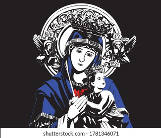 Our lady of perpetual help Virgin Mary and Child Jesus catholic statue