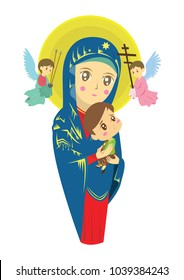 our lady of perpetual helps vector catholic cartoon